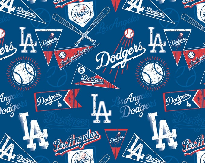 Los Angeles Dodgers Major League Baseball Cotton Woven Fabric 60 Inches wide