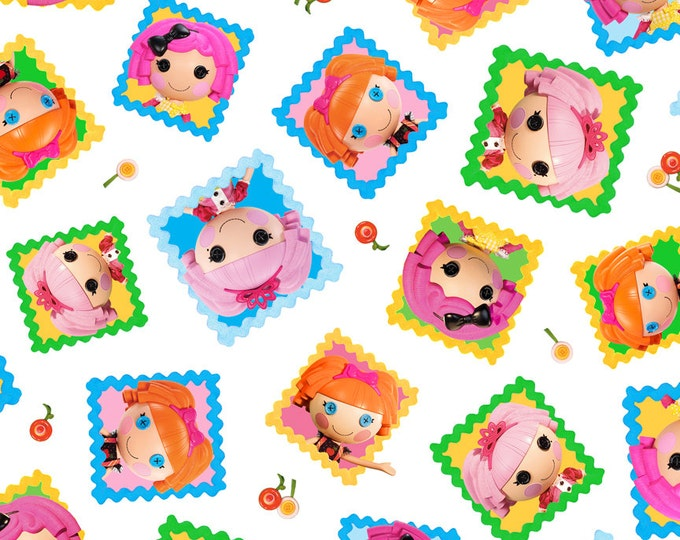 Quilting Treasures Lalaloopsy Characters on White  Cotton Woven