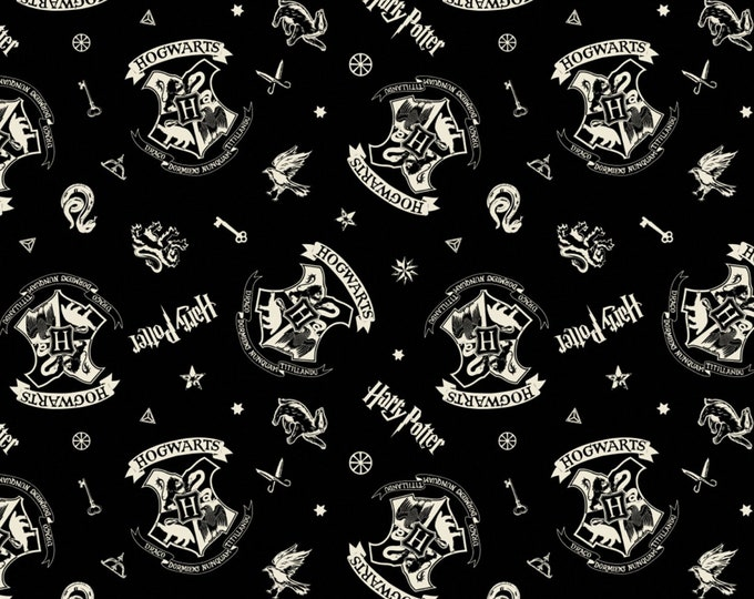 Camelot Fabric - Licensed Wizarding World - Black Tossed Assets Harry Potter    # 23800128-2 Cotton Woven Fabric