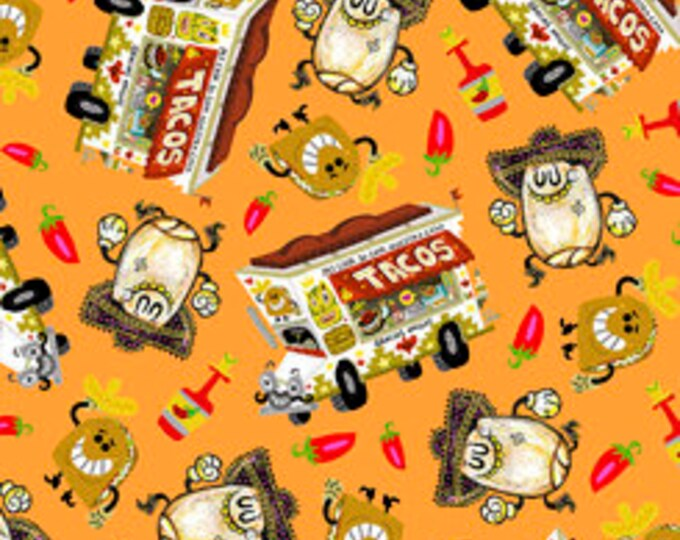 Quilting Treasures Fabric - Hot Tamale -  Tossed Food on Orange Cotton Woven Fabric