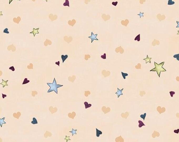 Quilting Treasures - Santoro's Gorjuss Rainbow Dream -  Ecru Tiny Stars and Hearts Cotton Woven Fabric
