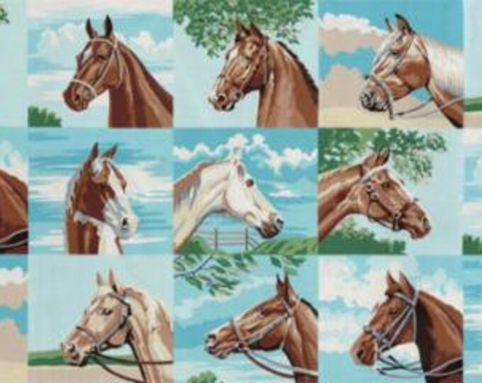 "Moda - Purebred II Horse Blocks 24"" x WOF Panel Cotton Woven"