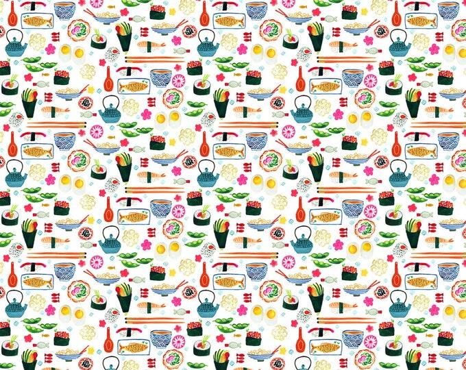 Dear Stella - Tokyo Dreams by August Wren - Sushi # ST-DAW1391WH - Cotton Woven Fabric
