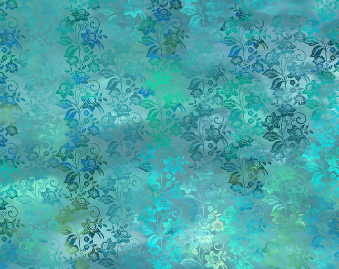 Diaphanous - Teal - Cotton Woven Fabric by Jason Yenter for In the Beginning Fabrics 5ENC-3