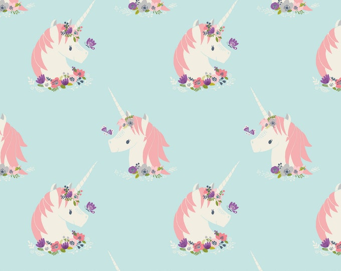 Camelot Fabric - I Believe in Unicorns - Unicorns in Aqua -Cotton Woven