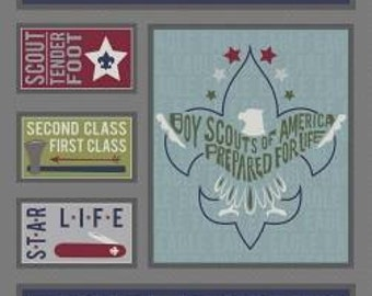"Riley Blake Fabric - Licensed Boy Scouts of America - Scout Panel Gray  (36"" x 42"") Cotton Woven Fabric"