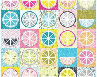 "Quilt Kit - Robert Kaufman - 80"" x 80"" Fruit Juice by Violet Craft - featuring Fabric from Betty's Luncheonette. Quilt Kit"
