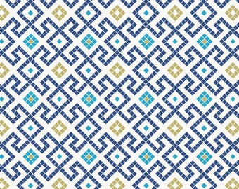 Lews & Irene Fabrics - Lindos - Greek Mosaic with Gold A267.3 Cotton Woven Fabric