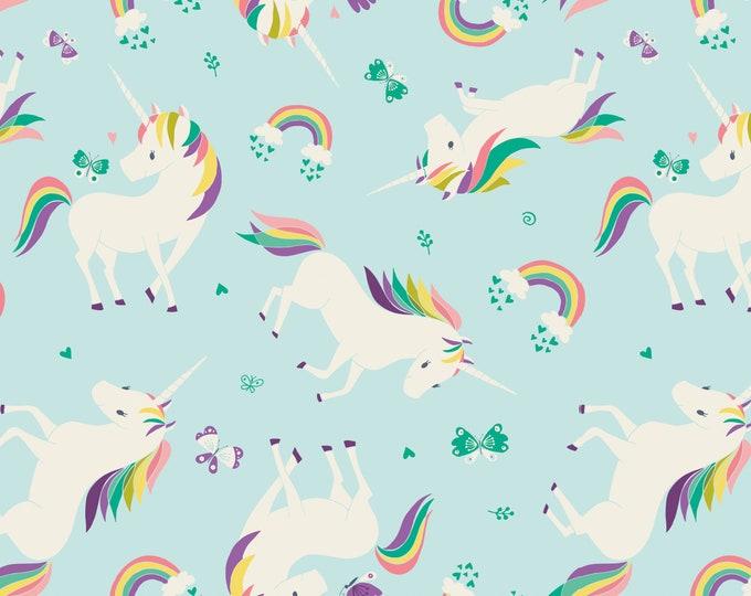 Camelot Fabric - I Believe in Unicorns - Unicorns & Rainbows in Aqua -Cotton Woven