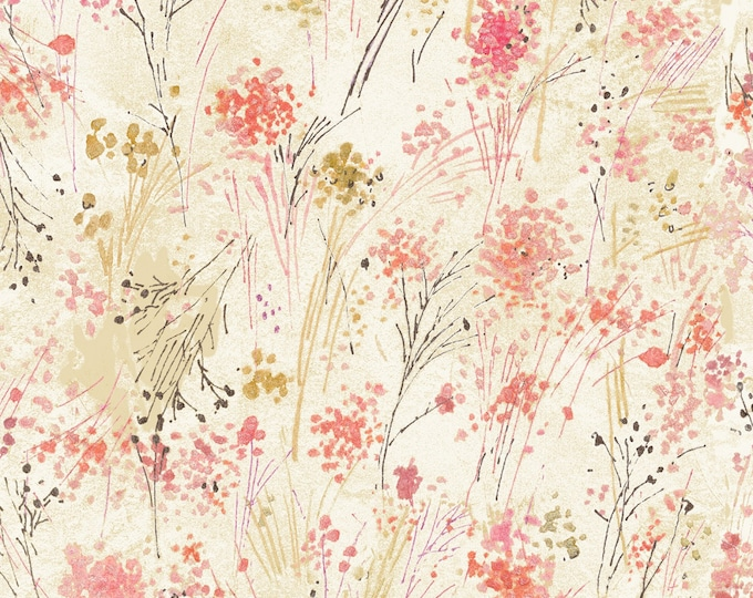 Timeless Treasures - Cream Floral Digitally Printed #CD7192-CRM Cotton Woven Fabric