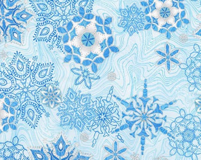 Blue Snowflake w/Metallic - APTM-17337-4 -Holiday Flourish by Robert Kaufman Metallic Cotton Woven Fabric