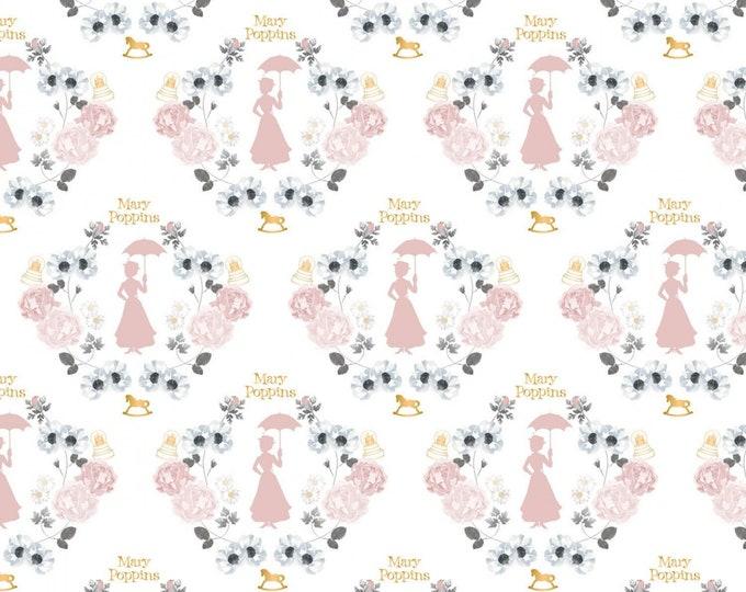 White Damask w/Metallic Cotton Woven Fabrics #85460101L-1 - Mary Poppins by Camelot Fabrics