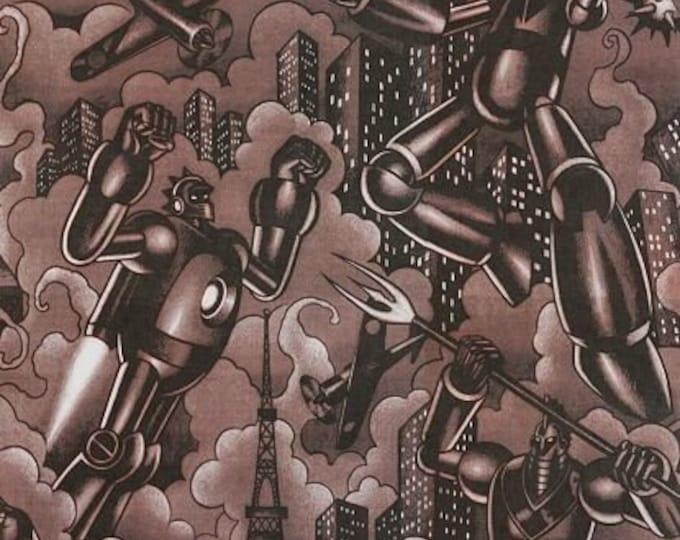 Alexander Henry Fabric - Tokyo Bots Steel Gray Robots cotton woven fabric