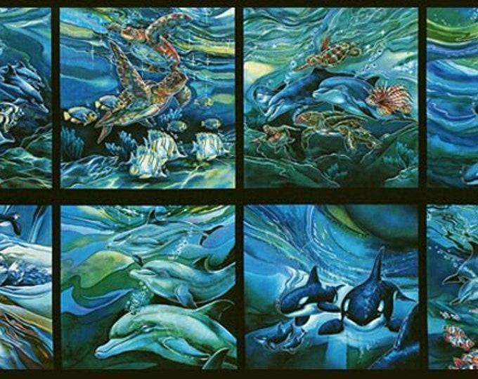 Robert Kaufman Fabrics - North American Wildlife - 24 inch Panel - Ocean ABK-11496-59 - Cotton Woven Fabric
