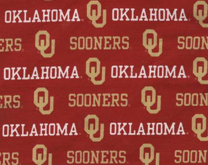 SALE !!!! Oklahoma Sooners 65/35 Poly Cotton Twill Fabric 58/59 Inches