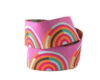 Tula Pink - Chipper - Hypnotizer Orange and Pink woven ribbon
