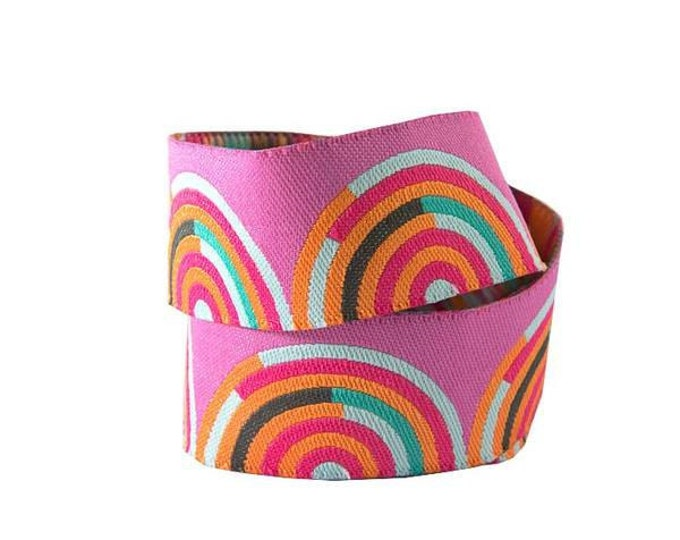 Tula Pink - Chipper - Hypnotizer Orange and Pink woven ribbon