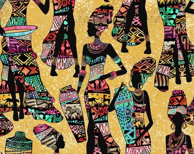 Timeless Treasures - African Ladies Kenta-C7420-Sand Cotton Woven Fabric