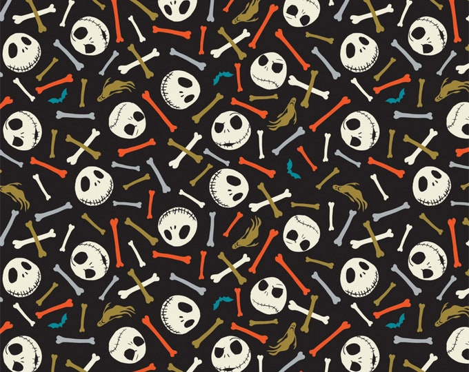 Nightmare Before Christmas - Jack is Back -Skull and Bones - Multi - Glow in the Dark Cotton Woven Fabric - Camelot