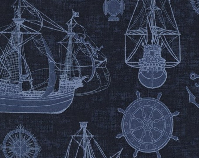 Timeless Treasures - Outlined Ships Cotton Woven Fabric