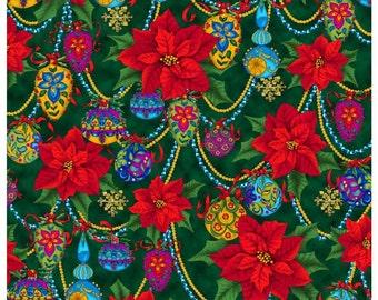 Quilting Treasures - Christmas Splendor Poinsettias on Green  Cotton Woven Fabric