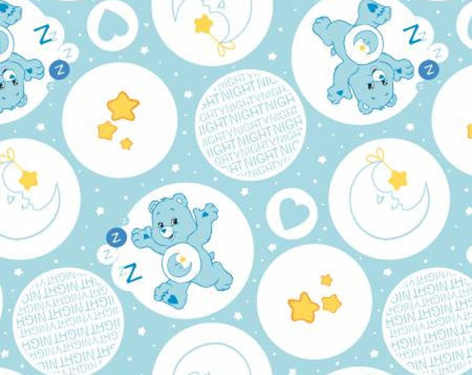 Camelot Fabrics - Licensed Care Bears -  Bedtime Bear on Blue Cotton Woven Fabric