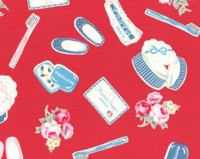 Lecien - Flower Sugar Maison Fall 2016 Collection -  Toothbrush, Paste, Toiletries Cotton Oxford on Red
