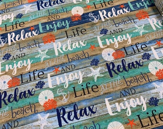 Studio E Fabrics - Coastal Dream - Multi Beach Words on Shiplap #4856S-17 Cotton Woven Fabric