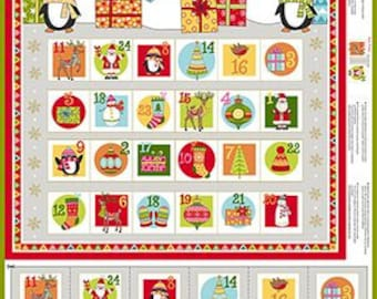 "Andover Fabric - Festive -Advent Calendar 24"" Panel TP-2106-1 - Cotton Woven Fabric"