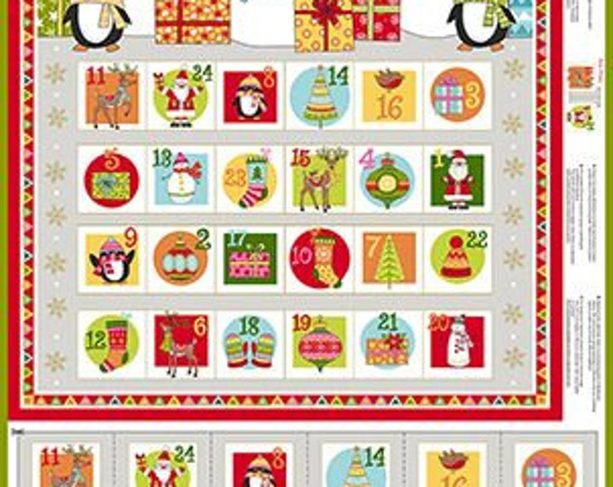 "Andover Fabric - Festive -Advent Calendar 24"" Panel TP-2106-1 - Cotton Woven Fabric"