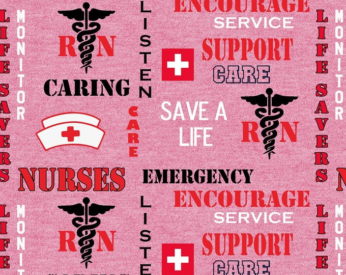 Skyel - Pink RN/Nurse Save a Life # NURSE-1181 Cotton Woven Fabric