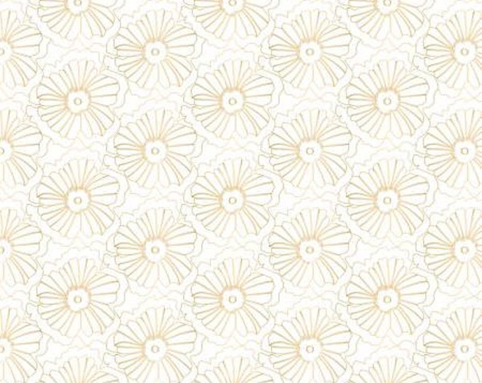Up Up and Away Metallic Blossom on White cotton woven fabric