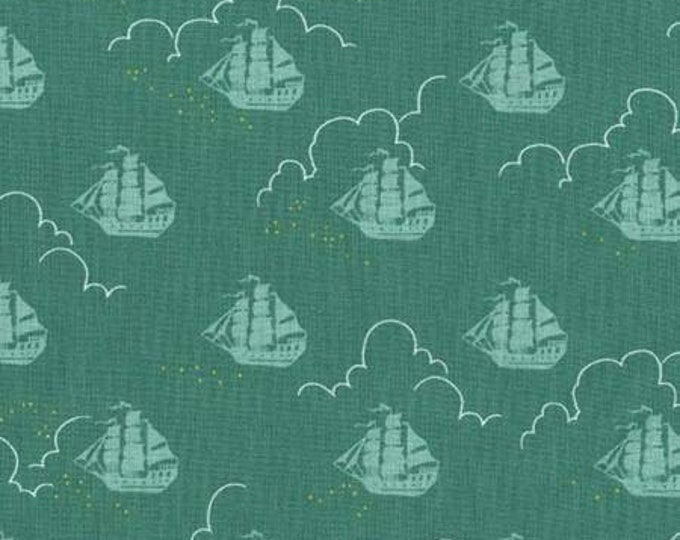 Michael Miller - Peter Pan by Sarah Jane  Jolly Roger - Fern -Metallic Cotton Woven Fabric