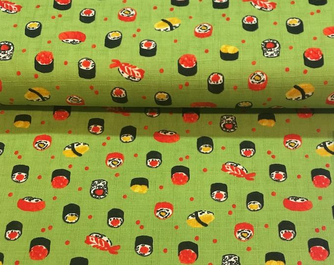 Lecien Fabric - Sushi -  Green 301-1105 2-c Cotton Woven Fabric