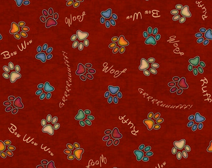 Quilting Treasures Fabric - Must Love Dogs by Dan Morris - Rust Paw Prints   26939T Cotton Woven Fabric