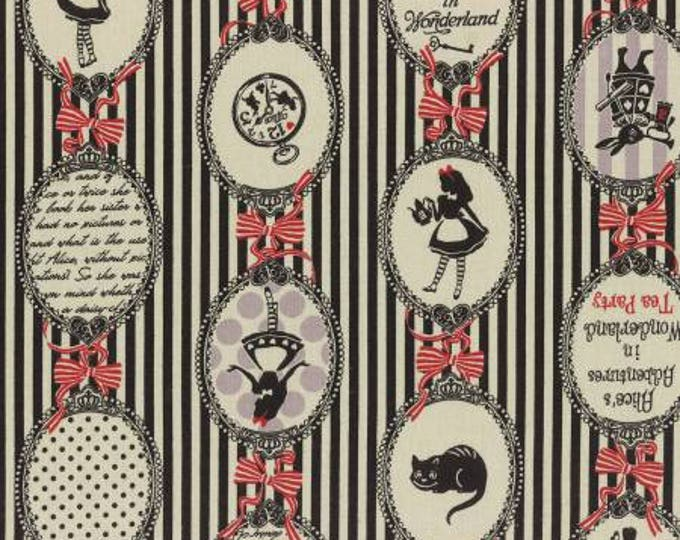 A Girl's Story, Alice in Wonderland Cotton linen 40823L-100 Alice Cameos on black stripes By Lecien Fabrics