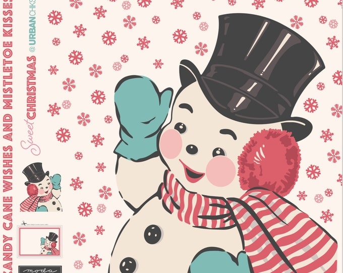 "Moda Fabrics - Sweet Christmas by Urban Chiks - 73"" X 58"" Snowman Panel #31150P Cotton Woven Fabric"