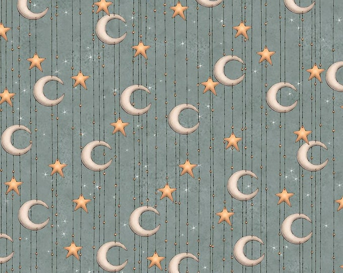 Quilting Treasures - Santoro Adrift - Mermaid Moon Stripe Slate cotton woven fabric