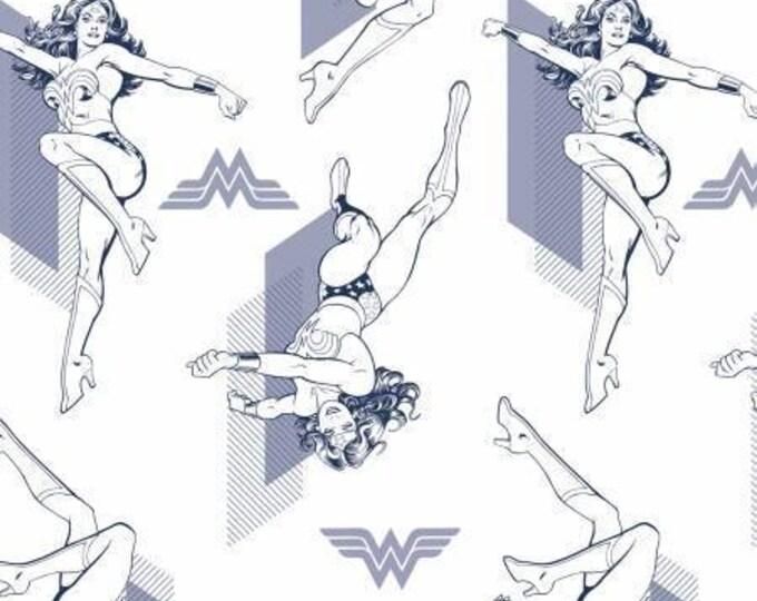 Camelot Fabric - Wonder Woman -  Blue Outline Cotton Woven Fabrics