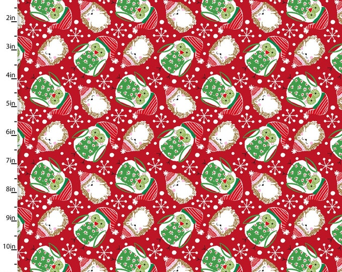 3 Wishes Fabric - Winter Woodland - Red Owls & Hedgehogs 15145-RED Cotton Woven Fabric