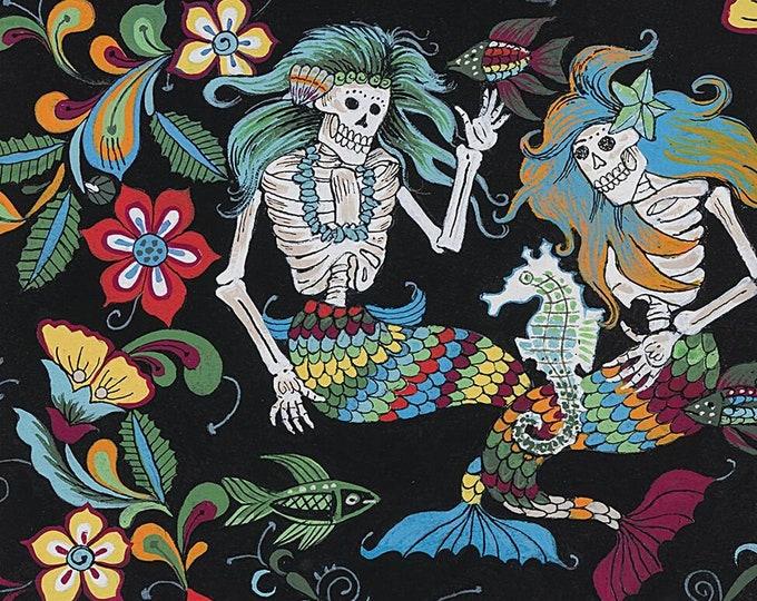 Alexander Henry Fabric - Black/Multi Esqueletos del Mar #8718B Cotton Woven Fabric