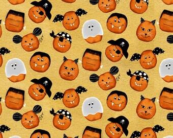 StudioE - Cheekyville - Gold Pumpkin Faces #4664S-44 Cotton Woven Fabric