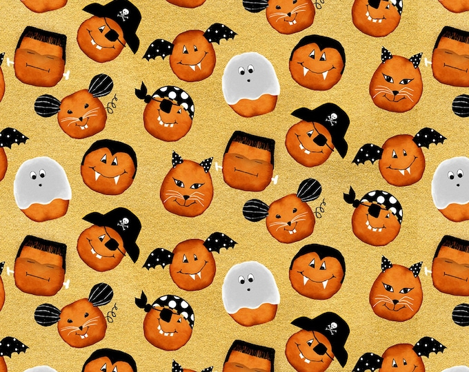 StudioE - Cheekyville - Gold Pumpkin Faces #4664S-44 Cotton Woven Fabric