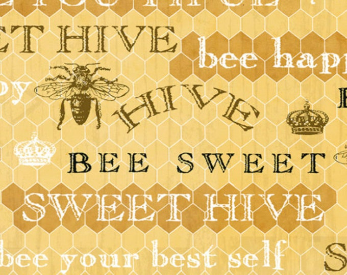 Studio E Fabrics - Bee Sweet by Cerrito Creek **Limited Release** - Words on Honeycomb Print - 5125-44 - Cotton Woven Fabric
