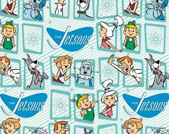 Camelot Fabric - The Jetsons - Frames on Blue Cotton Woven Fabric