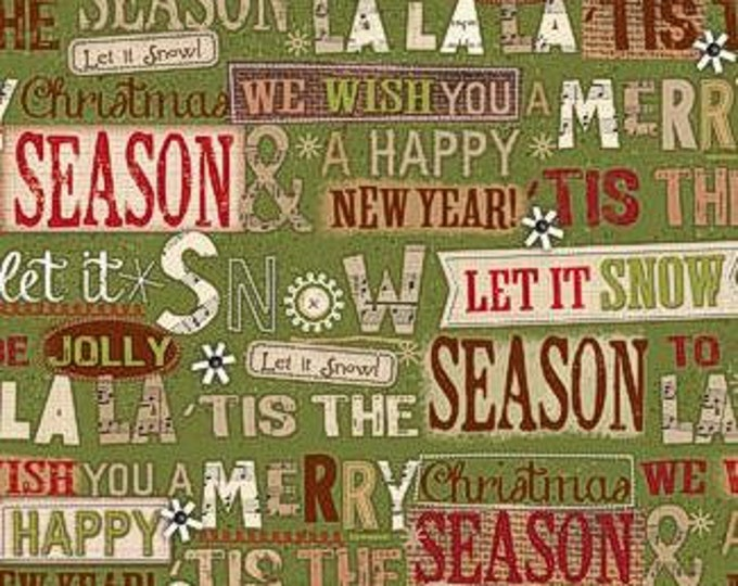 SPX Holiday Stitches Christmas Cotton woven on green, let it snow, holiday words 1 Yard Listing