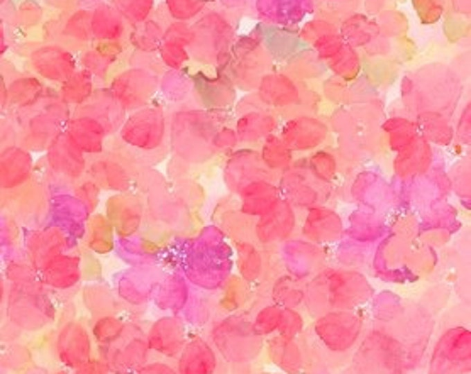 Sun Kissed Floral, Pink Cluster Floral Petals Cotton Woven by Quilting Treasures