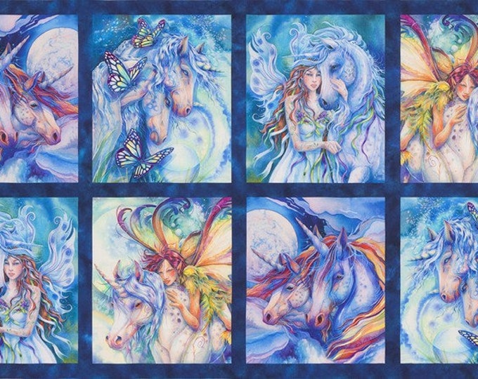 "Wild Fairy 24"" Panel Cotton Woven Fabric - ABKD-18646-286 - Morningmoon Unicorns by Jody Bergsma Roberrt Kaufman"