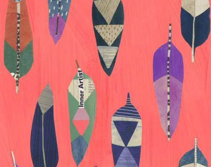 Windham Fabrics - Dreamer by Carrie Bloomston - Painted Leaves Coral Cotton Woven Fabric