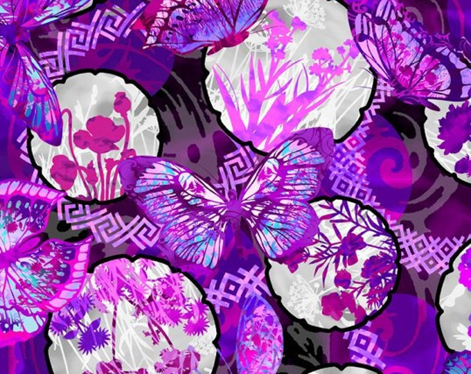 In the Beginning Fabrics - Dreamscapes by Jason Yenter -  Butterflies Floral in Purple 3JYH-3 Cotton Woven Fabric